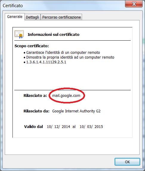 Figura 5 - Esempio di certificato SSL