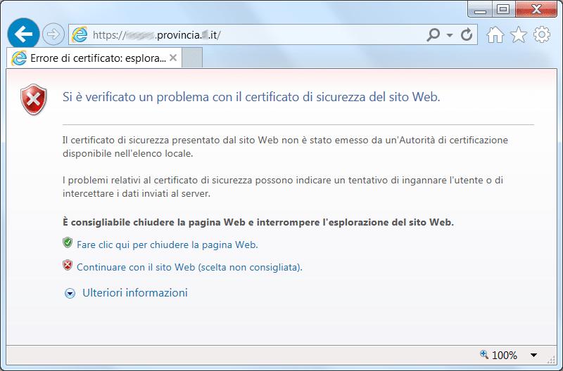 Figura 8 - Avviso del browser per problemi nel certificato SSL